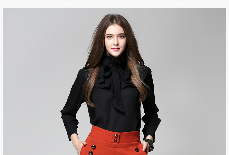 Long Sleeve Office Ladies Women Shirts (15)