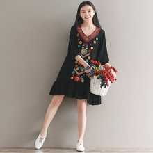 2017 summer women's new heavy embroidery dress national wind five V collar women dress