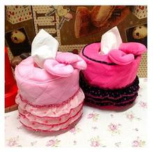 New Pink Lace Bow Hello Kitty Tissue Cover Round Tissue Pumping Sets Cartoon Tissue Box Tissue Paper Storage Box Home Decoration