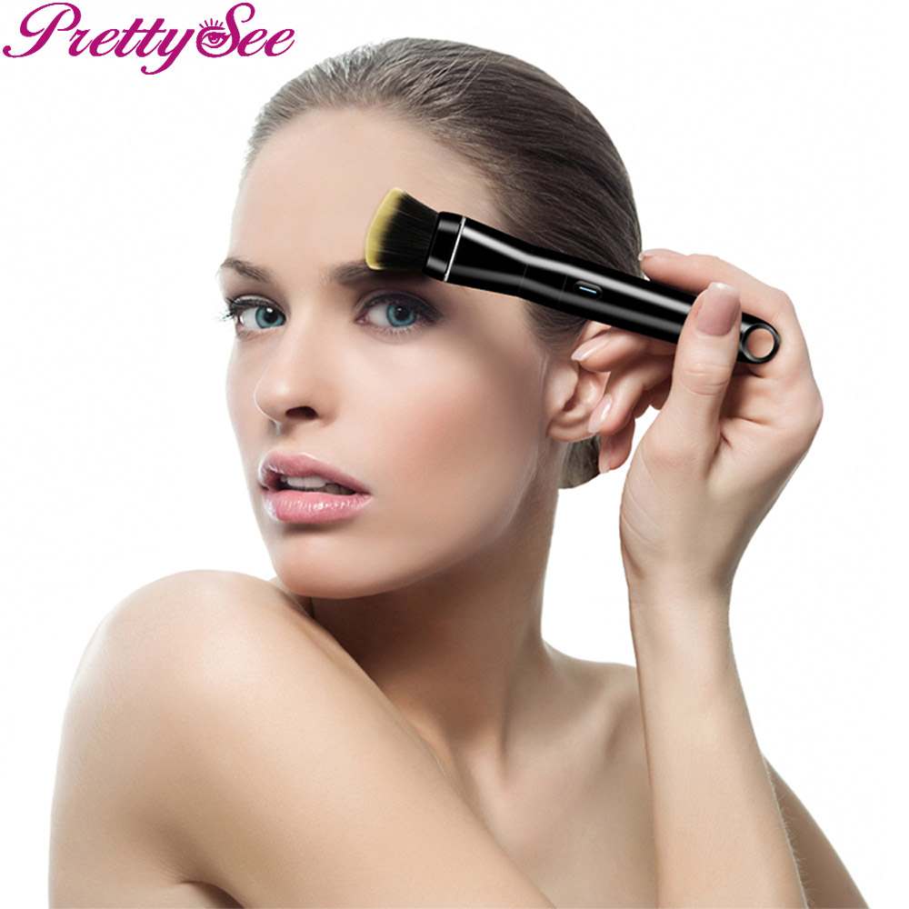 PRETTYSEE Cosmetic Tools Women Electric Makeup Brush Rechargeable Cosmetic Brush Professional Beauty Brush with Black Handle<br>