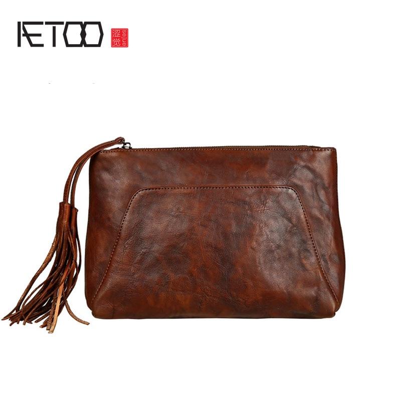 AETOO Leather handbag tannery retro pocket bag leather hand holding bag large capacity tassel bag<br>