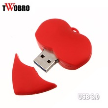 TWOBRO Red Love Heart Model USB 3.0 Pen drive Flash Drive 4GB 8GB  Special Wedding Gifts Cartoon usb Flash Memory Stick Pendrive