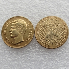 1902 Germany Bavaria 10 Mark Gold Plated Copy Coins High Quality(China)