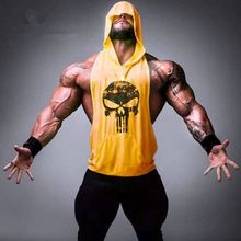 Hot Men's Retro Skull Logo Tank Tops Bodybuilding Stringer Hoodie Tank Top Muscle hooded Shirts Casual Workout Clothes(China)