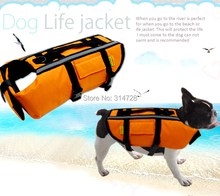 Free shipping summer conspicuous orange safety dog swimwear pet professional lifejacket cute puppy clothes vest(China)