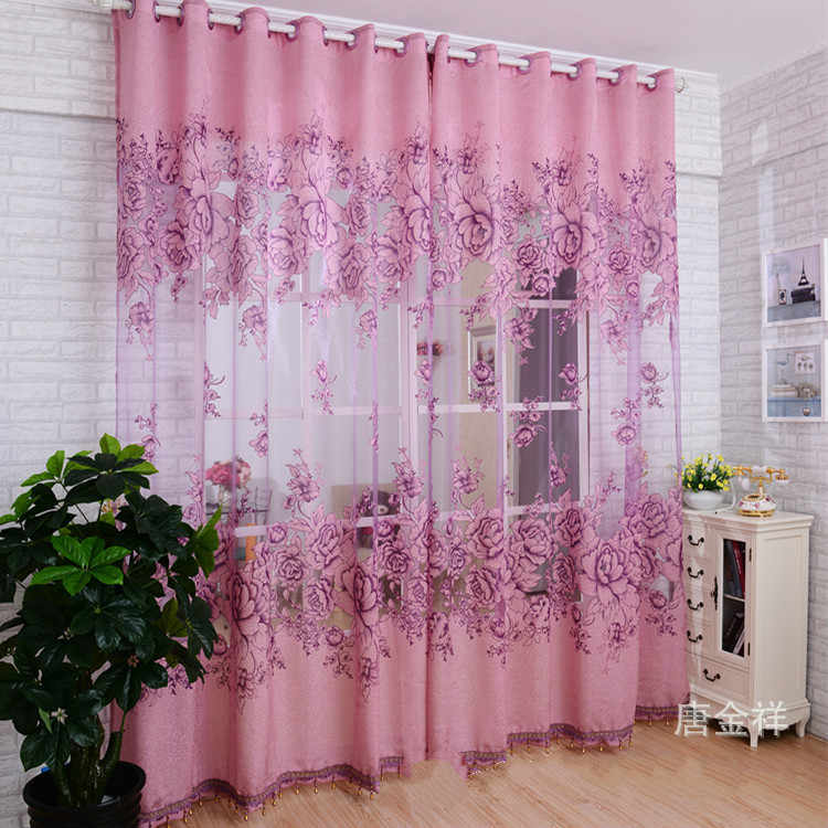 Modern thick tulle window Screening curtains for living room Purple champagne color Eyelets top curtain