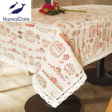 Cartoon Christmas Tablecloth Pattern Printing Line with Lace Edge Table Colth Home Table Cover for Dining Table and Desk(China)
