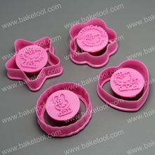 (12pac/lot) FDA high quality Hello Kitty Cookie Cutter Stamper  for cake decorating cake tools