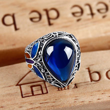 925 Sterling silver Rings,drop blue corundum Jade party Ring females Ring wealthy Vintage boule couple rings Cloisonne jewelry