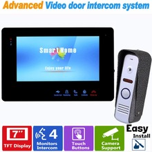 "7"" TFT 800TVL Video Intercom Doorbell Rainproof Door Phone Doorbell Camera for CCTV Home Security Support Max 32G SD Card F1372A"