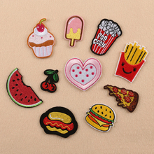 10pcs/lot Hamburg Embroidered Patches Pizza Chips Food Iron On Patch DIY Clothes Jeans Complement Cave Decorative Accessories