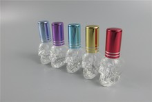 Empty 3pcs/lot Transparent Creative Skull Glass Parfum Bottle With Candy Colors Aluminum Atomizer Perfume Bottles Wholesale