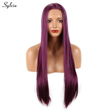Sylvia Silky Straight Dark Purple Soft Synthetic Lace Front Wig Lavender Hair Glueless Long Heat Resistant Fiber White Women Wig(China)