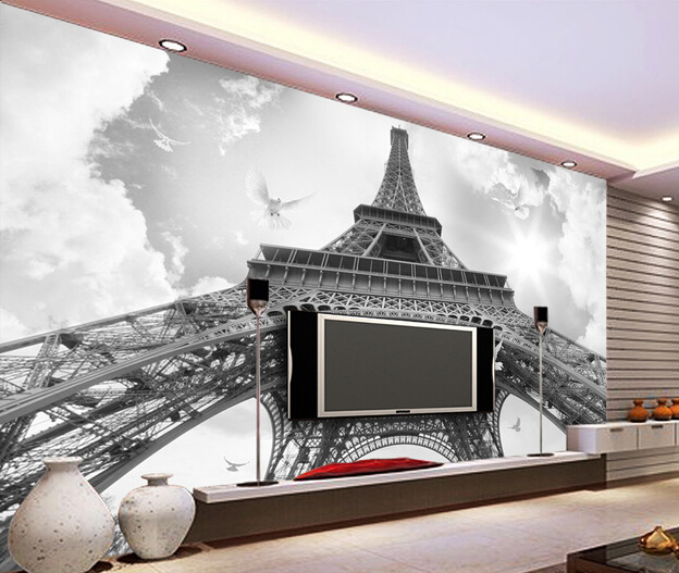 Custom photo wallpaper, the black and white Eiffel Tower murals for the sitting room living room  TV wall interior wallpaper <br>