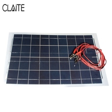 Claite DIY 18V 30W Solar Panel 540x350mm PolyCrystalline Module Solar Cells Battery Charger Multipurpose With 3m Welding Wire(China)