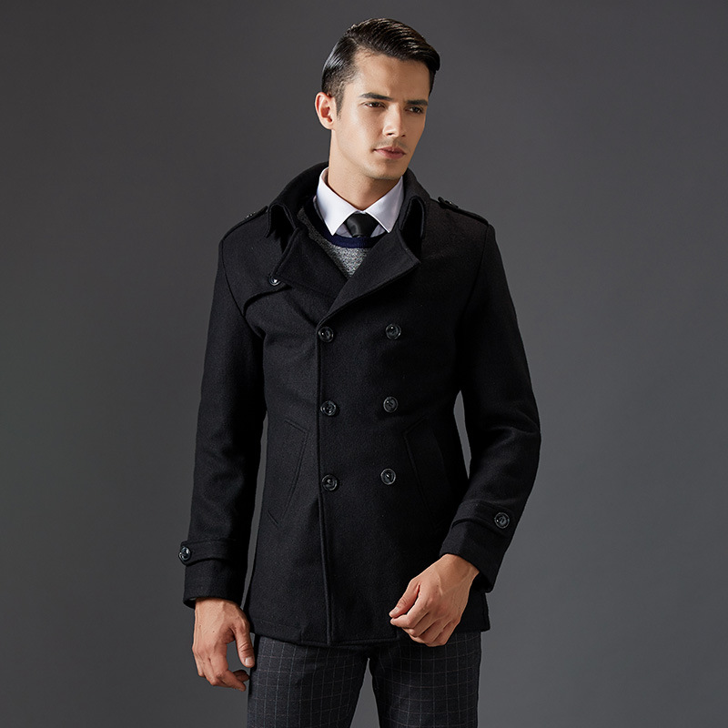 2017 New Thick Turn Down Collar Man Coats Wool Blends Good Quality Long Men's Wool Pea Coat