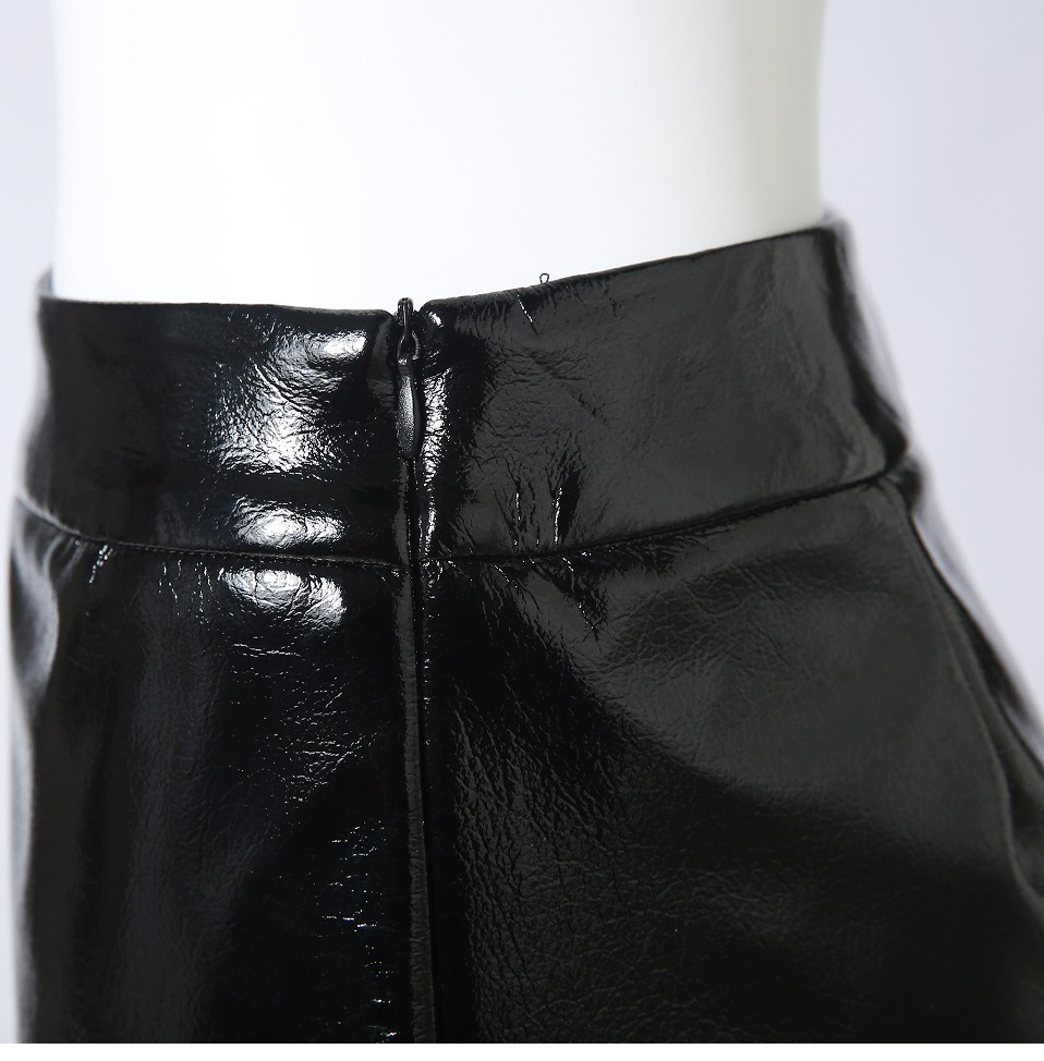 Autumn Winter Women Sexy Mini Skirt Black faux Patent Leather Female Short Pencil Skirt Zipper Fashion Streetwear Skirts Talever 14