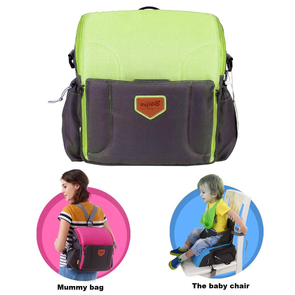 2 in 1 Baby Dining Chair Diaper Backpack Large Mummy Bag Waterproof Safety Belt booster Seat Folding Travel Maternity Baby Bags<br>