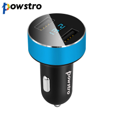 powstro Voltage Display Car Charger 5V 3.1A Dual USB Quick Charge Adapter Voltage Diagnostic for Car Mobile Phone Charging