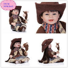 High End Quality 22'' Reborn-Dolls With Cowboy Style 22'' Baby Doll Clothes Unique Realistic Reborn Toddler Dolls Hot Brinquedos(China)