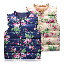 Sweet Floral Children's Girls Jackets Cotton Warm Kids Vest For Girl Waistcoat Children Outerwear For Kids Clothing 6-Style(China)