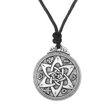 my shape Flower of Life Wiccan Pentacle Star Black Wood Amulet Necklace rope chain