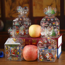 200pcs Christmas Even Clear Gift Box Xmas Printed Snowman Elk Santa Xmas Tree Treats Sweets Candy Apple Boxes Favors Wrap ZA4973(China)