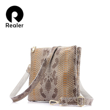 REALER brand fashion women messenger bags female genuine leather handbag high quality serpentine print shouder crossbody bags(China)