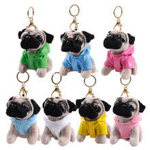 RYRY 13cm 7 colors cute plush puppy bag pendant dolls dog keychains for friend gift toy 2018 new year gift(China)
