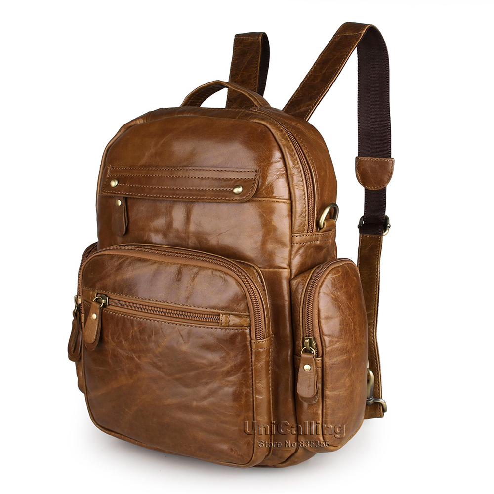 UniCalling fashion vintage unisex men women leather backpack small leisure real cow leather backpack quality genuine leather bag<br><br>Aliexpress