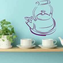 Wall Decals Teapot Tea Time Kitchen Cafe Interior Design Home Art Mural Wall Vinyl Decal Sticker Kids Room Decor(China)