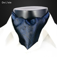 Men's Fashion Vintage Style Woven Double-faced Elegant Embroidery Cravat Jacquard Long Silk Scarf