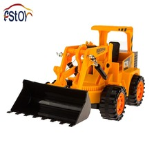 RC Truck 6CH Wired Control Simulation Bulldozer 4 wheel construction Bulldozer wheel drive Engineering van electronic toys(China)