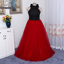 Stand Collarband Black and Red Plus Size Space Plant Cotton Prom Dresses Customized Made 26W Evening Gowns(China)