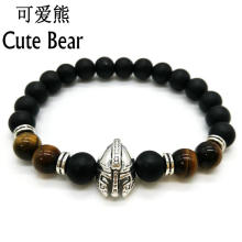 Cute Bear Roman Knight Spartan Warrior Gladiator Helmet Bracelet Men Black Matte Stone Tiger Eye  Bead Bracelets For Men Jewel