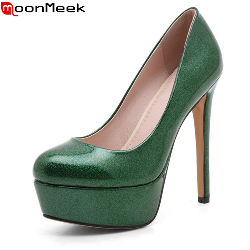 MoonMeek spring autumn female fashion platform pumps round toe thin heels slip on shllow extreme high heels shoes ladies shoes<br>