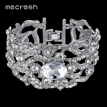Mecresh Gorgeous Crystal Bridal Bracelet Silver Color Rhinestone Link Chain Pulseira Feminina Wedding Jewelry for Women SL093(China)