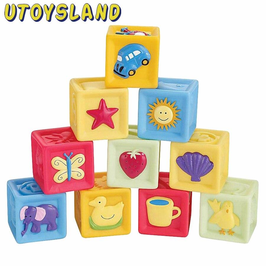 UTOYSLAND 10Pcs /set baby blocks toys non-toxic soft plastic Cartoon Cube Building Blocks Baby Kids Children Educational Toy<br><br>Aliexpress