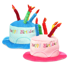 2 Colors Birthday Cake Candle Hat Short Plush Children Adult Party Amusement Park Supplies Performing Dress Props Dog Cap