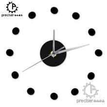 Small Dots 3D DIY Wall Clock Modern Home Decor Self-adhensive Wall Sticker Kitchen Wall Clock Quartz Mechanism