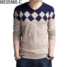 HEISMR.C Men's Sweater 2017 Winter Slim Fit Stylish Argyle Wool Pullover Sweater Men'S Casual V-Neck Knitted Sweaters HK21(China)