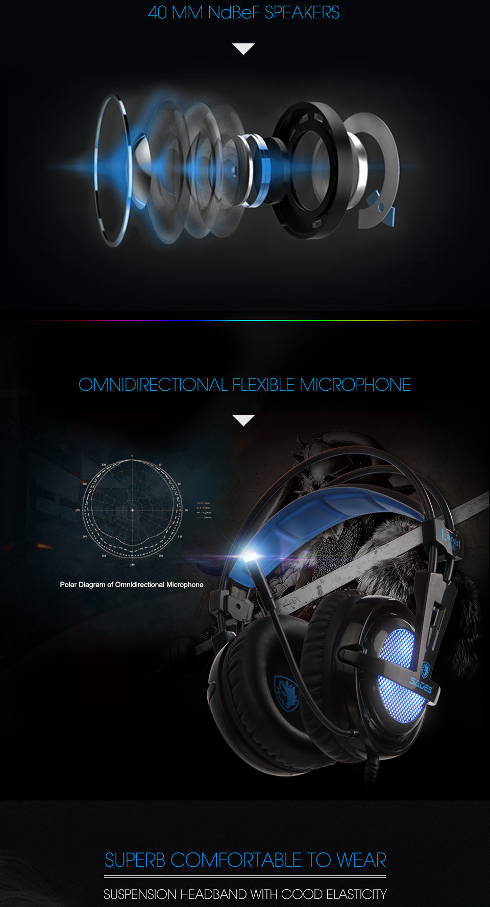 SADES Locust Plus 7.1 Surround Sound Headphones USB Gaming Headset Soft-leather Headband 5
