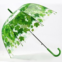 Woman Umbrella  Creative Fresh PVC Transparent Mushroom Green Leaves Arch Umbrella Child Long Umbrella/Rain Umbrella