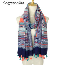 2017 Spring Autumn New Design Ethnic Style Voile Cotton Women Thin Long Shawl Scarf Woman Big Size Pashminas Wrap Hijab(China)