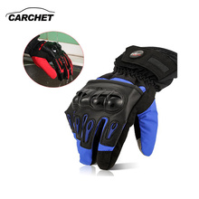 CARCHET Touchscreen Motorcycle Gloves Adjustable Full Finger Velcro Protective Motocross Glove Waterproof Sport Gloves Red&Blue