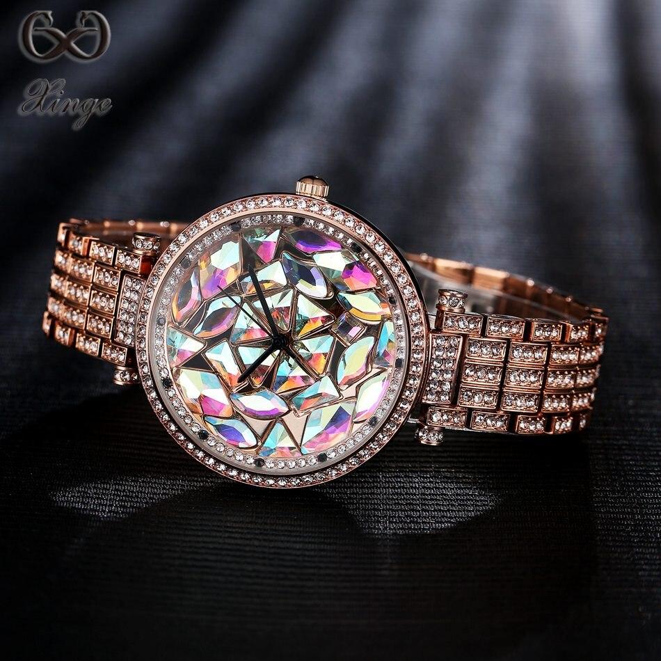 Xinge Brand High Quality New Product 2017 Crystal Bracelet Women Watches Luxury Fashion Ladies Gold Dress Female Quartz-watch <br>