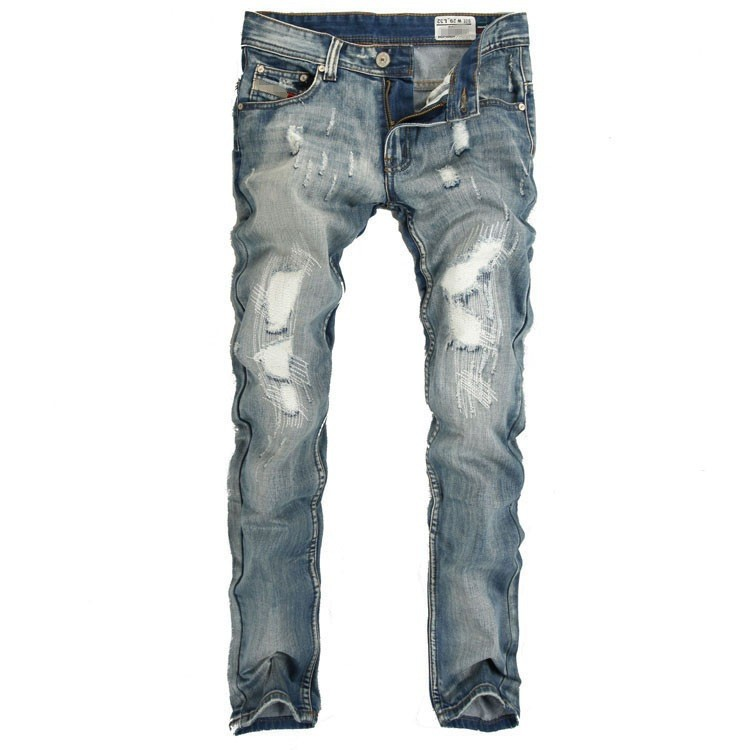 Men Jeans masculinaCasual Denim distressed Mens Slim Jeans pants jeans skinny rock ripped jeans hommeОдежда и ак�е��уары<br><br><br>Aliexpress
