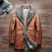 HNM002 Brand  High quality men Sheep skin leather jackets/American raccoon dog Suit collar Business Genuine Raccoon fur liner