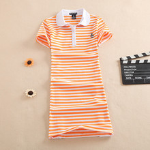 New Embroidery Stripe Polo Print Party Casual Dress T Shirt Slim Summer Sexy Cartoon Evening Robe Women Ete Cotton Mini Vestidos