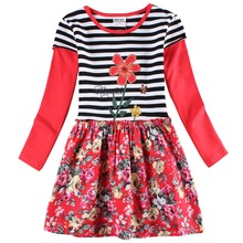 2015 new dress designs cartoon character embroidered  cotton autumn girls dress nova kids wear casual dresses nova dress